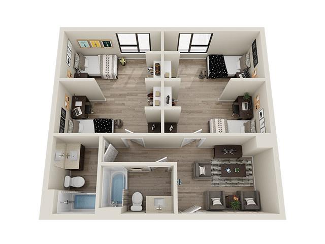 Quad Deluxe 3D Floor plan rendering