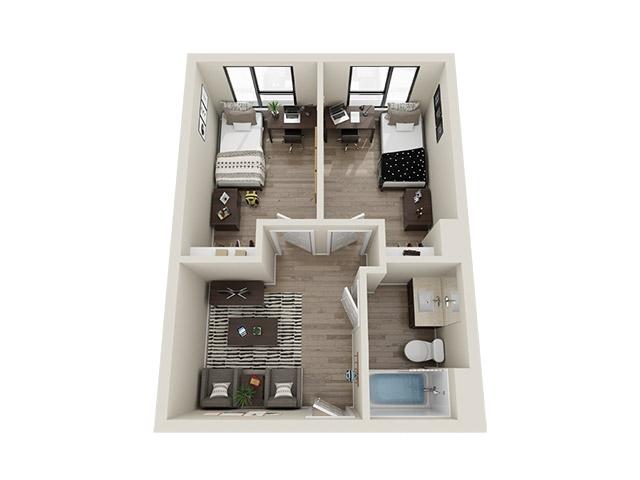 Two Bedroom Single 3D Floor plan rendering