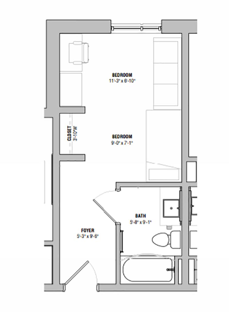 One Bedroom Suite 3D Floor plan rendering
